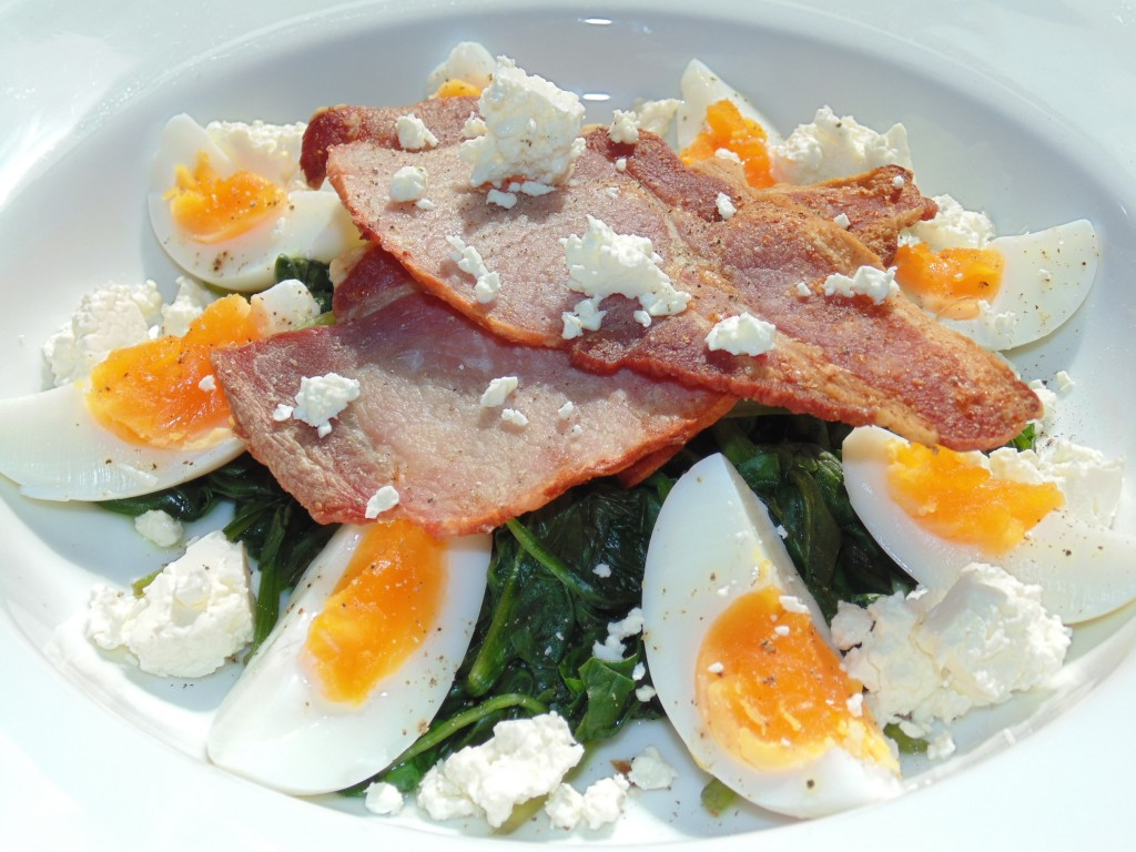 Wilted Spinach, Bacon & Egg Salad